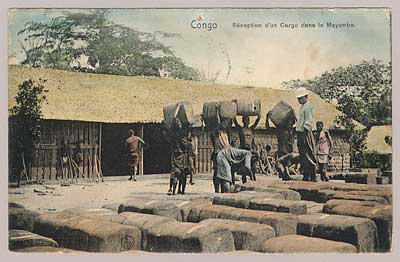 reception of loads of rubber in the mayombe region, congo
