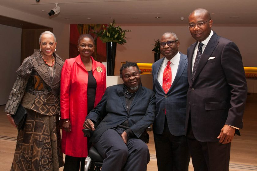 From (L-R): NMAfA Director Dr. Johnnetta Betsch Cole, Baroness Valerie Amos, director of SOAS, Yinka Shonibare M.B.E., HE Simon Ogah (Nigerian High Commissioner) and Mr Aig Aig-Imoukhuede (co-host)