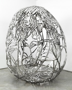Ghada Amer  b. 1963, Egypt The Blue Bra Girls 2012 Cast and polished stainless steel 182.9 x 157.5 x 137.1 cm (72 x 62 x 54 in.) Collection of the artist, courtesy Kukje Gallery, Seoul