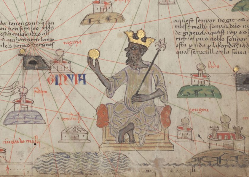 <em>Catalan Atlas</em> detail depicting Mansa Musa with gold