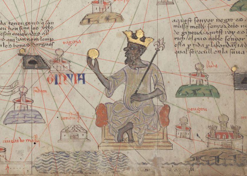 <em>Catalan Atlas</em> detail depicting Mansa Musa with gold