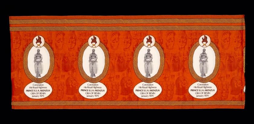 Commemorative cloth with coronation image of Prince Edu Akenzua