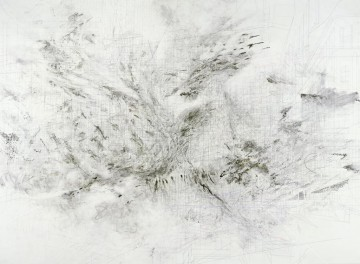 Julie Mehretu  b. 1970, Ethiopia Fragment  2009  Ink and acrylic on canvas 304.8 x 416.6 cm (120 x 164 in.) Collection of the artist, courtesy Marian Goodman Gallery, New York/London/Paris