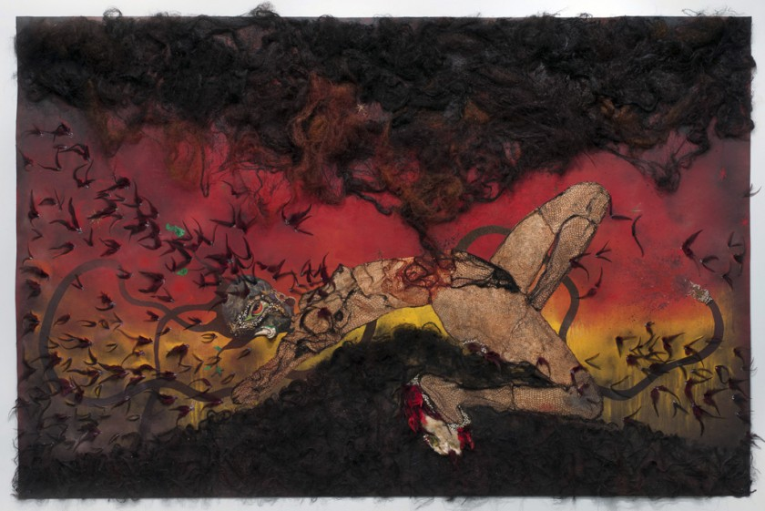 Wangechi Mutu, b. 1972, Kenya. The Storm Has Finally Made It Out of Me Alhamdulillah, 2012. Collage on linoleum, 193 x 295.9 x 10.2 cm (76 x 116 1/2 x 4 in.). Collection of the artist, courtesy Susanne Vielmetter Los Angeles Projects