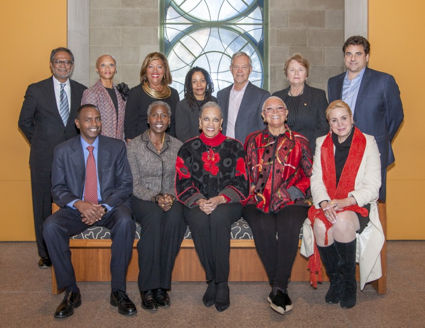National Museum of African Art Board Members November 2013. Top row, left to Right: Asif Shaikh, Lucia Riddle, Marcella Jones, Renee Stout, Henry Drewal, Honorable Anne Imelda Radice, and Stuart Bohart. Botton row Left to right: Mustafa Jama, Magdalene Johnson Obaji, Dr Johnnetta Cole, Dr. Camille Cosby, and Dr. Christine Warnke