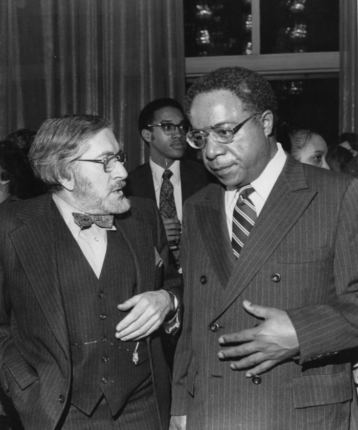 "NMAfA founder Warren Robbins with 'Roots' author Alex Haley on February 23, 1977. Robbins, a longtime friend of Haley, founded the National Museum of African Art in 1964 ""To foster cross cultural communications between people through education in the arts of Africa""."